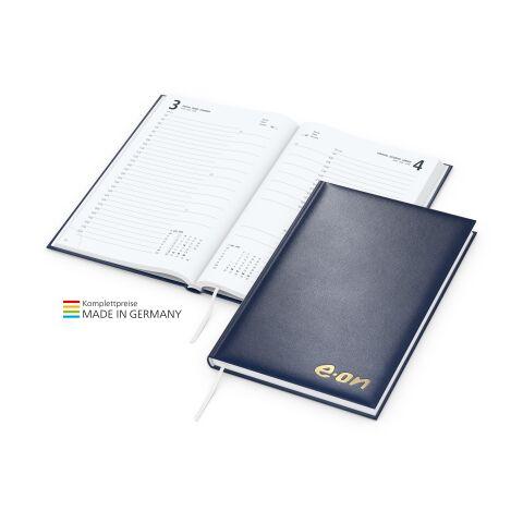 Buchkalender Basic mit Prägung marineblau | Silberprägung