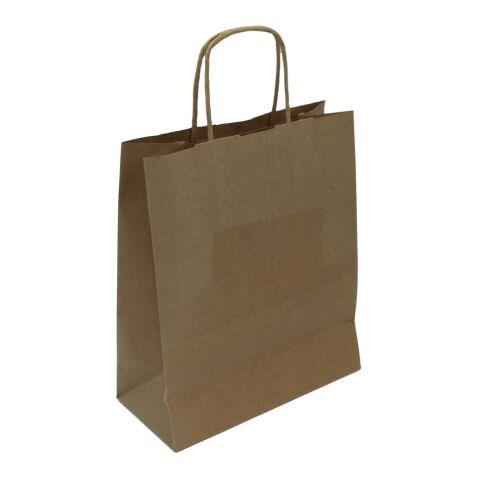Krafttasche gedrehte Kordel braun | 18 x 8 x 21 cm | ohne Werbeanbringung | ohne Werbeanbringung