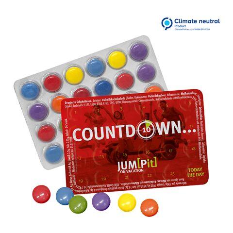 Kleinster Event-Kalender der Welt mit Schokolinsen weiß | 1-farbiger Druck