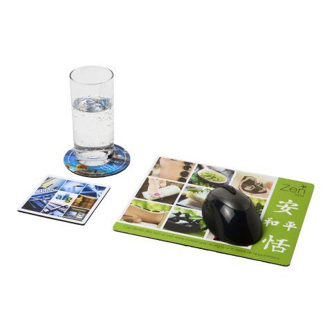 Q-Mat® Mauspad und Untersetzer-Set schwarz   ohne Werbeanbringung   Nicht verfügbar   Nicht verfügbar