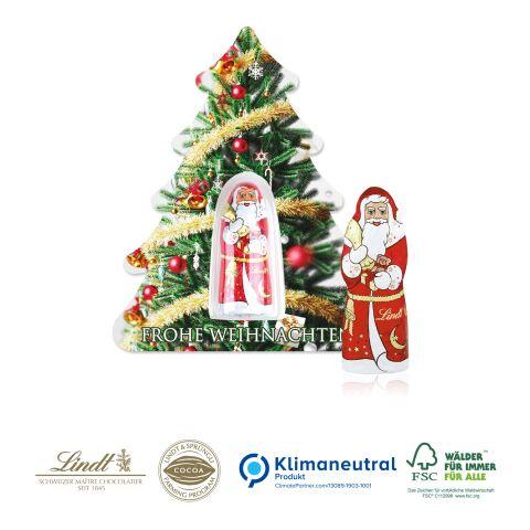 """Schokokarte """"Business"""" mit Lindt Weihnachtsmann - Weihnachtsbaum, Klimaneutral, FSC®-zertifiziert 4C Digital-/Offsetdruck"""