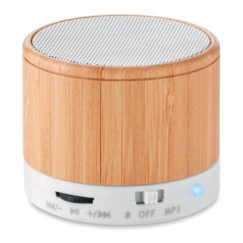 Bluetooth Lautsprecher Bambus weiß | 1-farbiger Tampondruck | Seite 1 | 30 mm x 25 mm