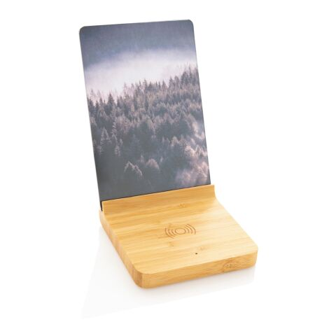 Bambus 5W Wireless Charger mit Fotorahmen braun | ohne Werbeanbringung | Nicht verfügbar | Nicht verfügbar