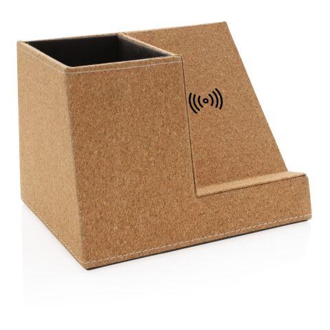 Kork Stiftehalter mit 5W Wireless Charger braun   ohne Werbeanbringung   Nicht verfügbar   Nicht verfügbar