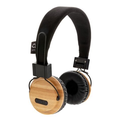ECO Bambus kabelloser Kopfhörer braun-schwarz   1-farbiger Tampondruck   Artikelseite rechts   35 mm x 15 mm