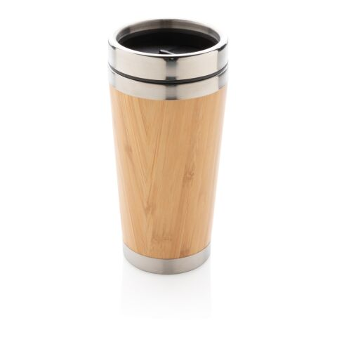 Organischer Bambus-Becher braun | 1-farbiger Tampondruck | Artikel Rückseite oben | 35 mm x 20 mm