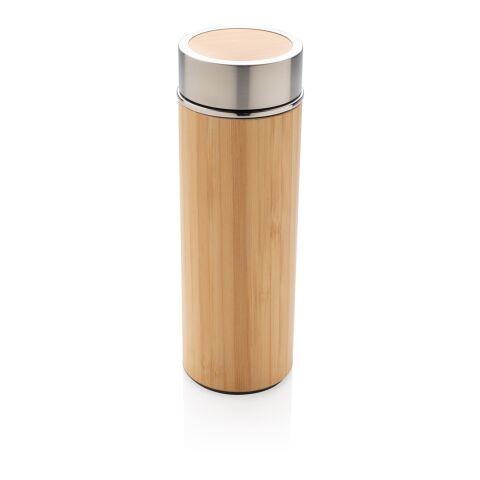Auslaufsichere Bambus-Vakuumflasche 320 ml braun | 1-farbiger Tampondruck | Artikel Vorderseite Mitte | 25 mm x 70 mm