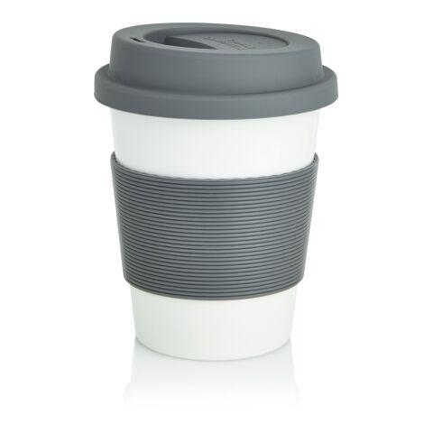 ECO PLA Kaffeebecher grau-weiß | 1-farbiger Tampondruck | Artikel Rückseite oben | 30 mm x 15 mm