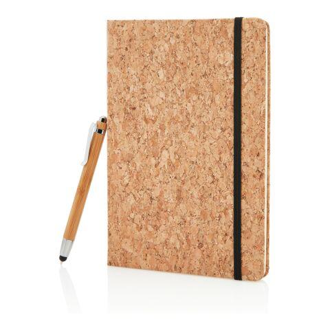 Kork A5 Notizbuch mit Bambus Stift und Stylus braun   ohne Werbeanbringung   Nicht verfügbar   Nicht verfügbar